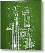 Oil Well Pump Patent From 1912 - Green Metal Print