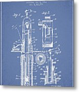 Oil Well Pump Patent From 1912 - Light Blue Metal Print