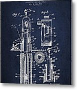 Oil Well Pump Patent From 1912 - Navy Blue Metal Print