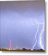 Oil Well Pumpjack Thunderstorm Panorama Metal Print