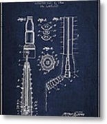 Oil Well Reamer Patent From 1924 - Navy Blue Metal Print