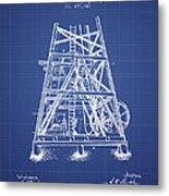 Oil Well Rig Patent From 1893 - Blueprint Metal Print