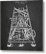 Oil Well Rig Patent From 1893 - Dark Metal Print