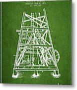 Oil Well Rig Patent From 1893 - Green Metal Print