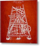 Oil Well Rig Patent From 1893 - Red Metal Print