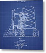 Oil Well Rig Patent From 1917 - Blueprint Metal Print