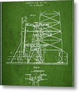Oil Well Rig Patent From 1917- Green Metal Print