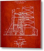 Oil Well Rig Patent From 1917- Red Metal Print