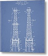 Oil Well Rig Patent From 1927 - Light Blue Metal Print