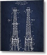 Oil Well Rig Patent From 1927 - Navy Blue Metal Print