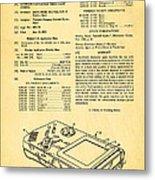 Okada Nintendo Gameboy Patent Art 1993 Metal Print
