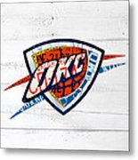 Okc Thunder Basketball Team Retro Logo Vintage Recycled Oklahoma License Plate Art Metal Print