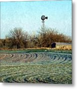 Oklahoma Farm In Winter Metal Print