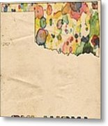 Oklahoma Map Vintage Watercolor Metal Print