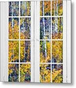 Old 16 Pane White Window Colorful Fall Aspen View  Metal Print