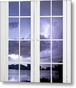 Old 16 Pane White Window Stormy Lightning Lake View Metal Print