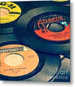 Old 45 Records Square Format Metal Print