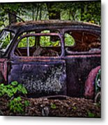 Old Abandoned Car In The Woods Metal Print