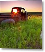 Old Abandoned Pick-up Truck Sitting In Metal Print