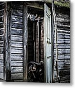 Old Abandoned Well House With Door Ajar Metal Print by Edward Fielding