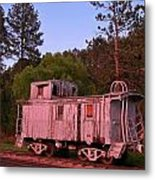 Old And Weathered Caboose Metal Print