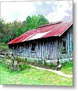 Old Barn Along Golden Road Filtered Metal Print
