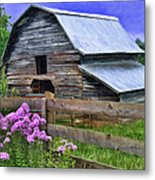Old Barn And Flowers Metal Print