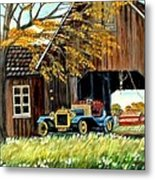 Old Barn And Old Car Metal Print