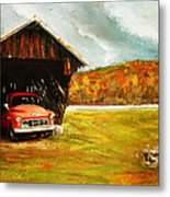 Old Barn And Red Truck Metal Print