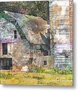 Old Barn And Silos Digital Paint Metal Print
