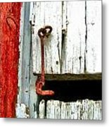 Old Barn Door Hook Metal Print by Julie Dant