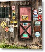 Old Barn Signs - Door And Window - Shadow Play Metal Print