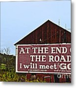 Old Barn With Religious Sign Metal Print