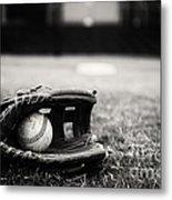 Old Baseball And Glove On Field Metal Print