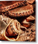 Old Baseball Gloves Metal Print