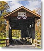 Old Bedford Village Covered Bridge Entrance Metal Print