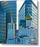 Old Believer-new Believer Church Amid Skyscrapers In Moscow-russia Metal Print
