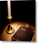 Old Bible And Candle Metal Print by Olivier Le Queinec