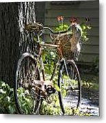 Old Bicycle And Hat Metal Print