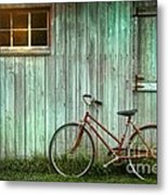 Old Bicycle Leaning Against Grungy Barn Metal Print by Sandra Cunningham