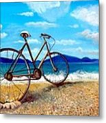 Old Bike At The Beach Metal Print by Kostas Koutsoukanidis