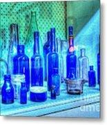 Old Blue Bottles Metal Print