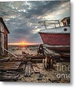 Old Boat At Sunset Metal Print by Ivor Toms