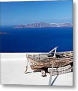 Old Boat On The Roof Of The Building On Santorini Greece Metal Print