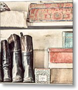 Old Boots And Boxes - On The Shelves Of A 19th Century General Store Metal Print by Gary Heller