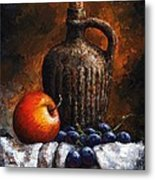Old Bottle And Fruit Metal Print