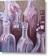 Old Bottles Metal Print by Kathy Weidner
