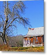 Old Cabin And Tree Metal Print
