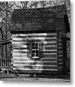 Old Cabin At Fort Washita In Bw Metal Print