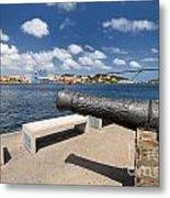 Old Cannon And Queen Juliana Bridge Curacao Metal Print